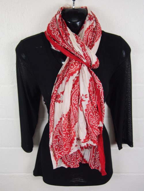 Cotton Scarf White and Rust