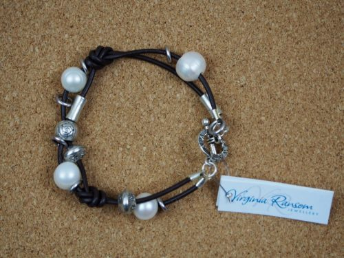 Brown Leather Pearl Bracelet