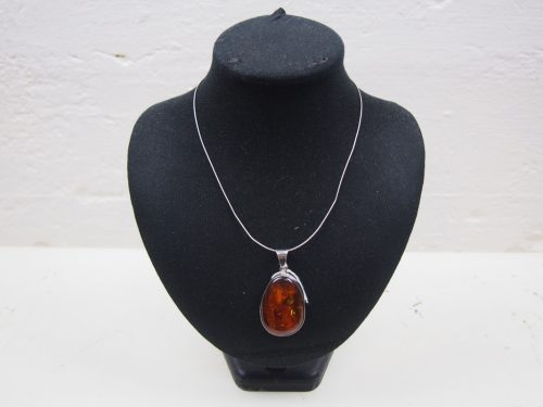 Amber Pendant Silver Necklace