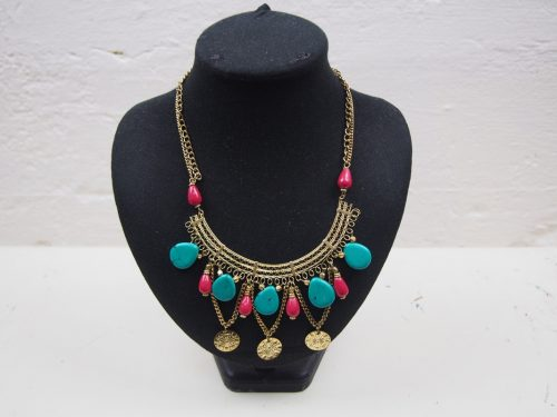 Bronze Necklace with Stones and Beads