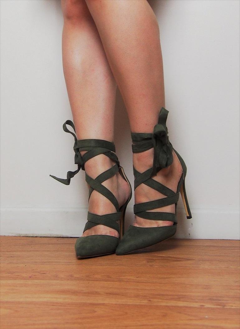 Koko khaki suede heels - Fushia Belle