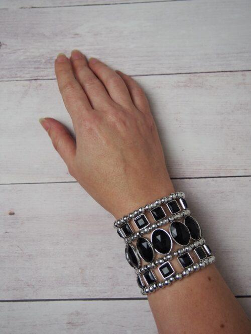 Cuff Bracelet - Black and Silver