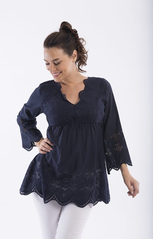 Broderie Blouse - Navy