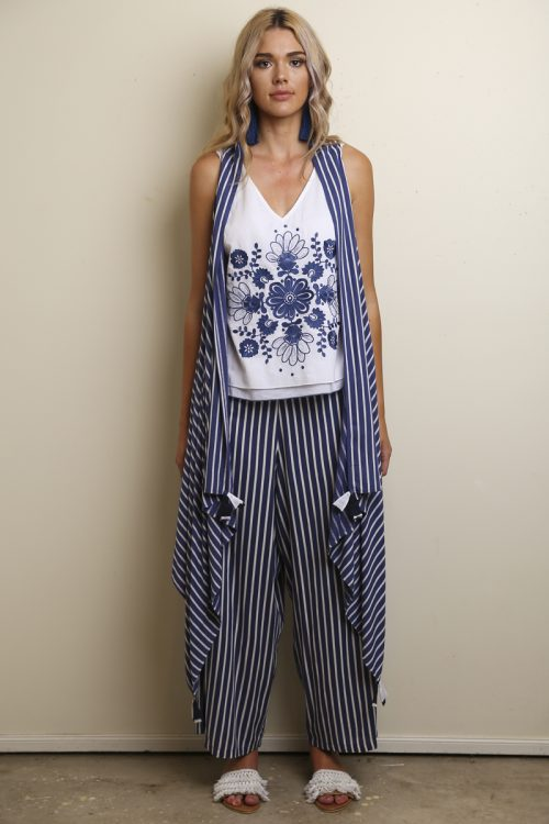 Bloo Striped Easy Pants | Cape | Navy Embry Top