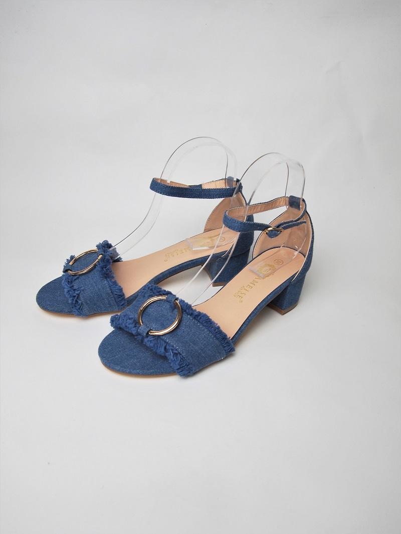 Jimna Denim Block Heel Sandal Fushia Belle